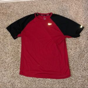 Red and black nike shirt
